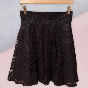 Marciano Black Lace Skirt with Rose Print Roses